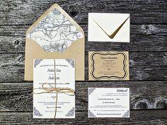 Vintage Typography Wedding Invitation Suite by SongbirdPaperie