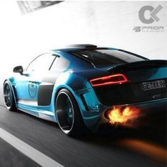 Fearsome Audi R8! Flaming Hot!