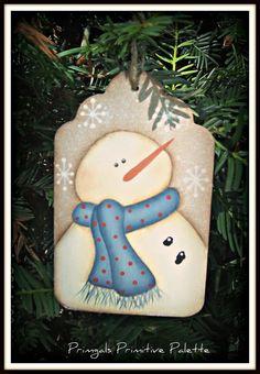Snowman Wood Hang Tag Holiday Ornament