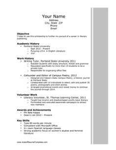 Focusing On Education And Academic Achievements, This Printable Resume Is A  Great Way To Apply  Examples Of Simple Resumes