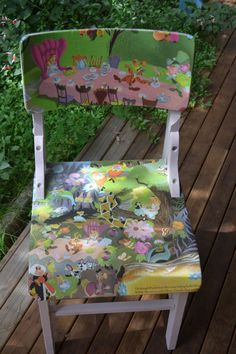 Use an old Alice in Wonderland book to decorate this sweet little chair