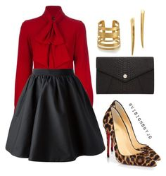 Untitled #1115 by visionsbyjo on Polyvore featuring polyvore fashion style Dsquared2 Acne Studios Christian Louboutin Oroton Gorjana Hervé Van Der Straeten clothing