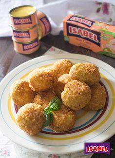 Croquetas de arroz rellenas de Atún Claro , Deliciosa receta de bolitas de arroz rellenas de Atún Claro Isabel. Croquetas de arroz con atún, una receta que os encantará.