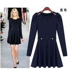 European Fashion slim long sleeve dress