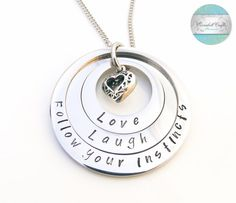 Personalised Layered Necklace Mothers Necklace by CoorabellCrafts Love Stamps, Hand Stamped Jewelry, Layered Necklace, Felt Hearts, Gifts For Mum, Christmas 2016, Etsy Jewelry, Heart Charm, Washer Necklace