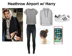 """Heathrow Airport w/ Harry"" by sophie-stylesx ❤ liked on Polyvore featuring NIKE, adidas and Nicce"