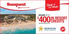 Receive up to $400 USD* per room per stay in resort credits when you book IBEROSTAR Hotels & Resorts with Sunquest! http://www.sunquest.ca/en/iberostar-resort-credits