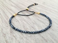 Black and gold bracelet, delicate bracelet, friendship bracelet,  adjustable, minimalistic and dainty on Etsy, $12.60