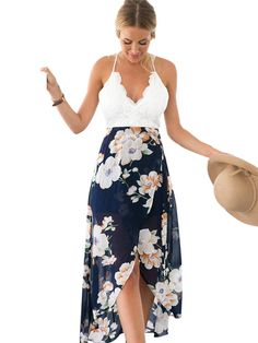 White Halter Summer Maxi Dress Material: Spandex, Cotton, Polyester Silhouette: Fit and Flare Pattern Type: Solid Sleeve Length: Sleeveless Decoration: Lace Dresses Length: Ankle-Length Sleeve Style: