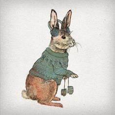 Winter Sweet Rabbit Art Print   by David Fleck