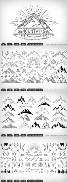 Mountains hand-drawn editable vector by Nedti on Creative Market Doodle Drawings, Doodle Art, How To Doodle, Doodle Frames, Zentangle, Bullet Journal Inspiration, Journal Ideas, Journal Design, Grafik Design