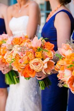 Image result for rustic orange and coral wedding bouquets