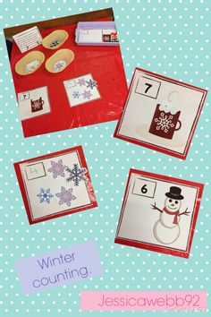 Winter counting. Count the correct number marshmallows onto the hot chocolate, buttons onto the snowman and snowflakes onto the sky. EYFS