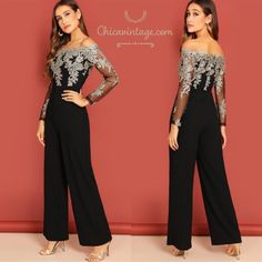 formal outfits for a wedding Black Dress Outfit Party, Hijab Dress Party, Prom Outfits, Dinner Outfits, Formal Outfits, Jumpsuits For Women Formal, Formal Jumpsuit, Robes D'occasion, Jumpsuit With Sleeves