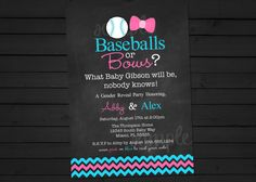 Baseballs OR Bows Chalkboard Style Gender by ShesTutuCuteBtq, $12.25