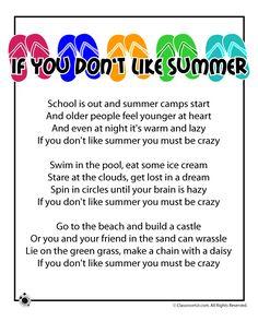 Summer Poems for Kids Summer Kids Poem - If You Don't Like Summer – Classroom Jr.