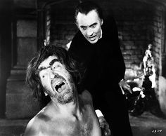 """Christopher Lee and Patrick Troughton in """"Scars of Dracula"""", 1970"""