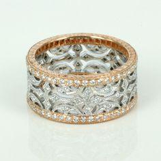 Two-tone gold eternity band with diamond inlay #DiamondEternityRings