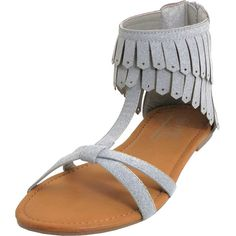 Easy Shoes Gray Fringe Sandal ($12) ❤ liked on Polyvore featuring shoes, sandals, gray sandals, flat soled shoes, synthetic shoes, fringe sandals and grey sandals