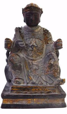 Chinese Oriental Wood Lacquer Temple Deity Figure cs1839 S
