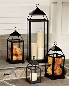 Fall idea: 2 Pumpkin lanterns, one medium and one small or large with medium, depending on the size of the lanterns.