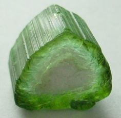 "Green tourmaline crystal ""Watermelon Tourmaline"""