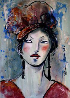 Le regard est le miroir de l'âme.. (Peinture), 36x41 cm par Dam Domido portraits