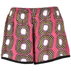 Boohoo Sarah Geo Print Woven Shorts ($16) ❤ liked on Polyvore featuring shorts, rayon shorts and woven shorts