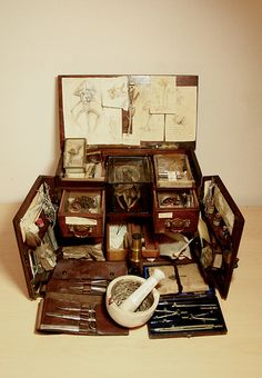 Herb kit of Lubomierz Pawlowski, who traveled the world learning about plants and fungi from native tribes. He built his kit up with specimens of potent medicines from around the world.