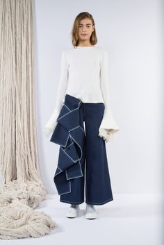 Cream Ribbed Bell Cuff Sweater, Dark Double Knot Wide-Leg Culotte