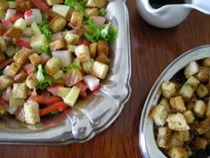 Receita Salada de kani kama com croutons