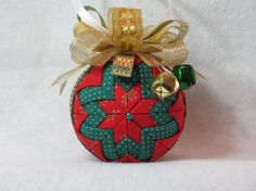 Quilted Christmas Ornament no sew red by KCFabricOrnaments on Etsy, $15.00
