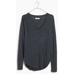MADEWELL Heathered Anthem Long-Sleeve V-Neck Tee (60 CAD) ❤ liked on Polyvore featuring tops, t-shirts, hthr indigo, vneck t shirts, heather t shirt, rayon tops, v neck tee and v neck t shirts