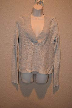 NWT $225 Sz 2/M James Perse Beige Hooded V-Neck Long Sleeve Sweater #JamesPerse #Hooded