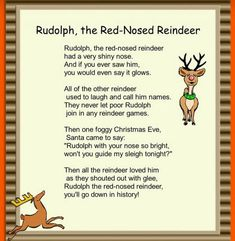 Rudolph the Red-Nosed Reindeer Rhyme for xmas cards Christmas Carols For Kids, Merry Christmas, Toddler Christmas, Christmas Themes, Kids Xmas Songs, Christmas Activities For Children, Childrens Christmas Songs, Preschool Christmas Songs, Xmas Carols