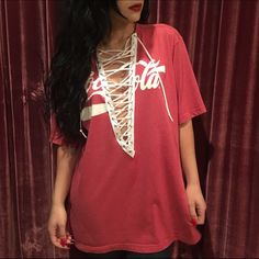 Vintage Coca-Cola lace up T-shirt One-of-a-kind! Just like the ones from LF LF Tops Tees - Short Sleeve Hipster Fashion, Diy Fashion, Runway Fashion, Fashion Outfits, Fashion Design, Lace Up T Shirt, Bleach Shirts, Teen Girl Outfits, Diy Shirt