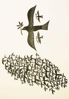 """Bird Cloud"" by Charles Shearer (card print) Bird Illustration, Illustrations, Woodcut Tattoo, Linoleum Block Printing, Royal College Of Art, Arte Popular, Wood Engraving, Bird Art, Bird Feathers"