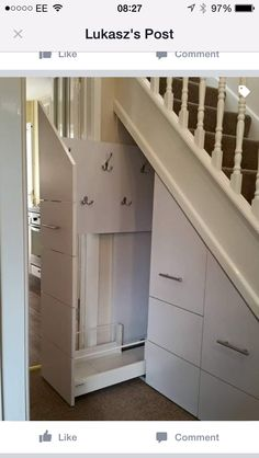 15 Space-saving Hidden Storage Ideas to Help Keep Your Home Tidy - The Trending House Small Space Interior Design, Home Interior Design, Under Stairs Storage Solutions, Stairway Storage, Under Stairs Cupboard, House Stairs, Hallway Decorating, My New Room, New Homes