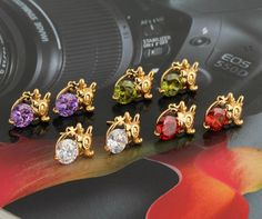 17mm 18K Gold Plated Fashion Cute Dragon Shape Inlaid Zircon Ladies Copper Earrings