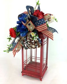 Rustic Fourth of July Lantern Swag, Red White and Blue Decor, Patriotic Lantern Swag, USA Lantern Swag, Lantern Centerpiece, USA Swag