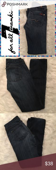 7 For All Mankind Bootcut Jeans - Size 24 7 For All Mankind Bootcut Jeans - Size 24 - Inseam 30in - Rise 7in  - Excellent condition - 🚫 Stains 🚫Holes 🚫 Tears - these have lots of wear left 7 For All Mankind Jeans Boot Cut