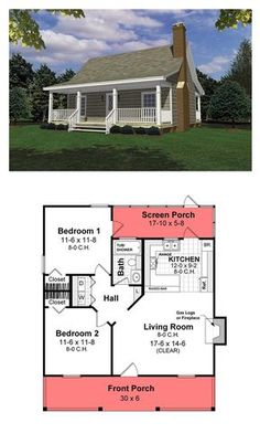 Cottage style cool house plan id chp 26434 total living area 800 sq ft 2 bedrooms 1 bathroom cottagestyle houseplan Small House Floor Plans, Cabin Floor Plans, Best House Plans, Small House Plans Under 1000 Sq Ft, Small Cottage Plans, Small Cabin Plans, Little House Plans, Small Farmhouse Plans, Little Houses
