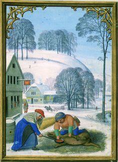 December - Da Costa Hours, in Latin Illuminated by Simon Bening (1483/84–1561) Belgium, Bruges, ca. 1515 - Pierpont Morgan Library, Da Costa hours (MS M.399)