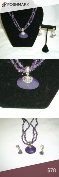 """Purple Majesty Exquisite and stunning purple Majesty slide and beaded necklace. She'll like beads necklace has two strands of purple shell beads. Removable magnetic slide, beaded strands can be worn  alone. 17"""" long with 3"""" ext. Lobster claw clasp. Earrings post backs with clips also. Purple stones and antique-looking silvertone Metal. Makes an outfit Premier Designs Jewelry Necklaces"""