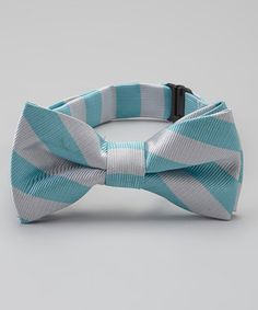 Love this Teal & Silver Bow Tie by Born to Love on #zulily! #zulilyfinds