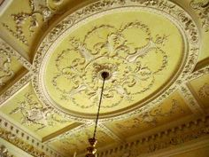 CEILING PLASTER VIEW: THE INTACT 18TH CENTURY DINING ROOM FROM KIRTLINGTON PARK, Oxfordshire, England (wood, plaster & marble. Designed by John Sanderson, 1748. Plaster work attributed to Thomas Roberts. Built for Sir James Dashwood 1742-46