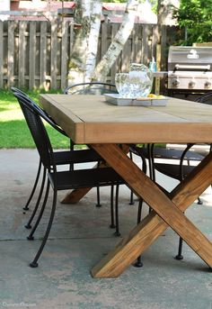 Table with X-Leg and Herringbone Top | FREE DIY PLANS | rogueengineer.com #DIYoutdoortable #OutdoorDIYplans