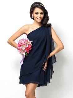 Fashion A-Line/Princess Sleeveless Short One-Shoulder Chiffon Bridesmaid Dresses 50366