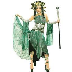 Paper Magic Medusa Serpent Monster Costume, Green/Gray, Medium