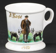 Porción # : 862 - MAN WITH DOGS SHAVING MUG